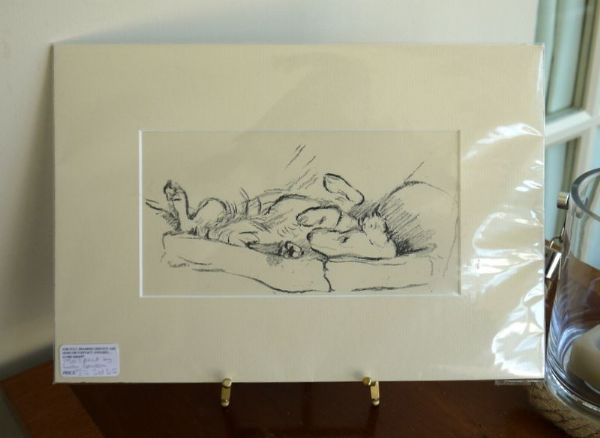 Setter upside down on a sofa! 1940's print by Lucy Dawson - Set D12